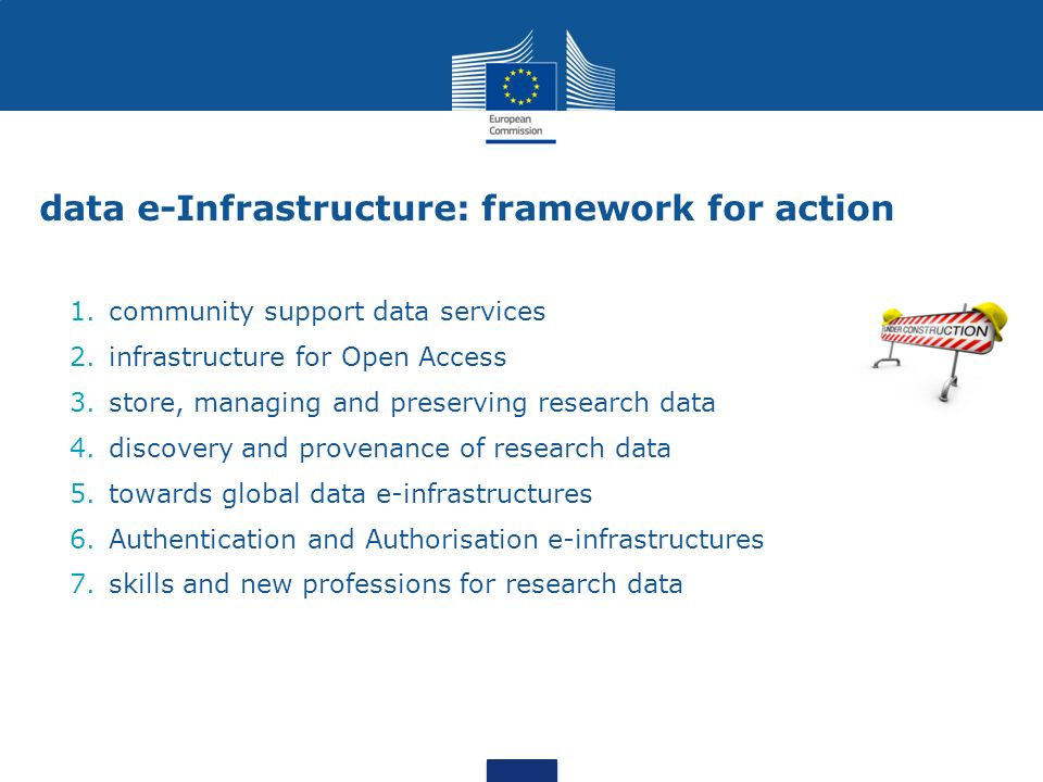 data e-Infrastructure: framework for action 1.community support data services 2.infrastructure for Open Access 3.store, managing and preserving research data 4.discovery and provenance of research data 5.towards global data e-infrastructures 6.Authentication and Authorisation e-infrastructures 7.skills and new professions for research data