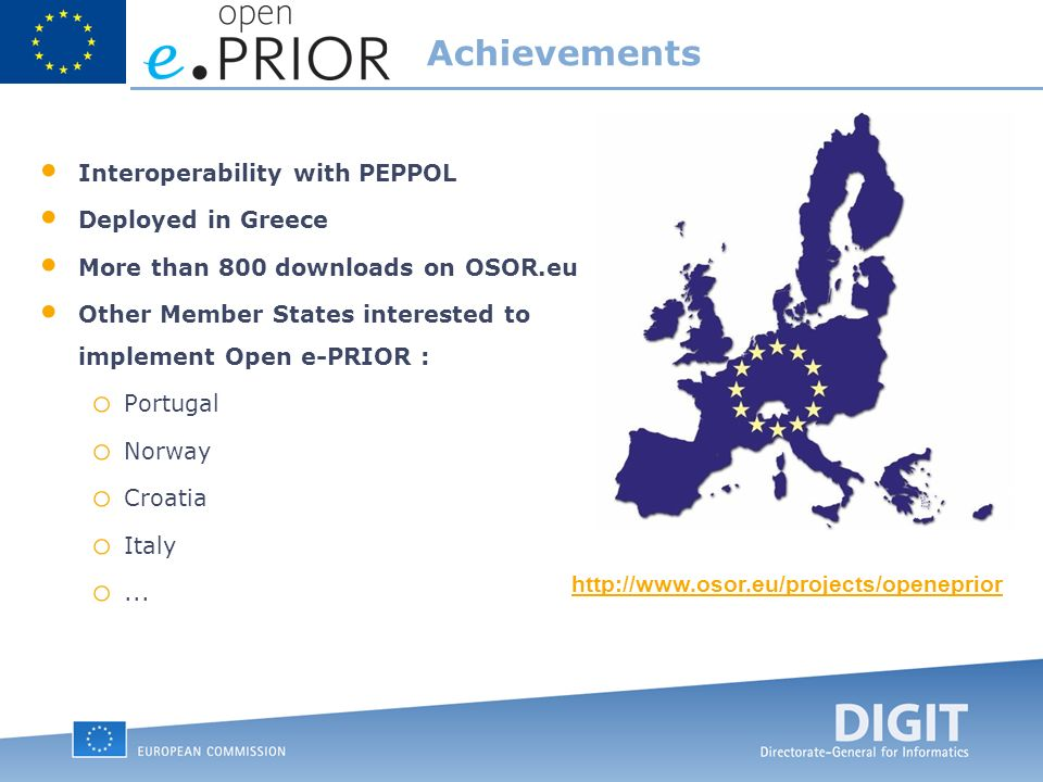 Interoperability with PEPPOL Deployed in Greece More than 800 downloads on OSOR.eu Other Member States interested to implement Open e-PRIOR : o Portugal o Norway o Croatia o Italy o...