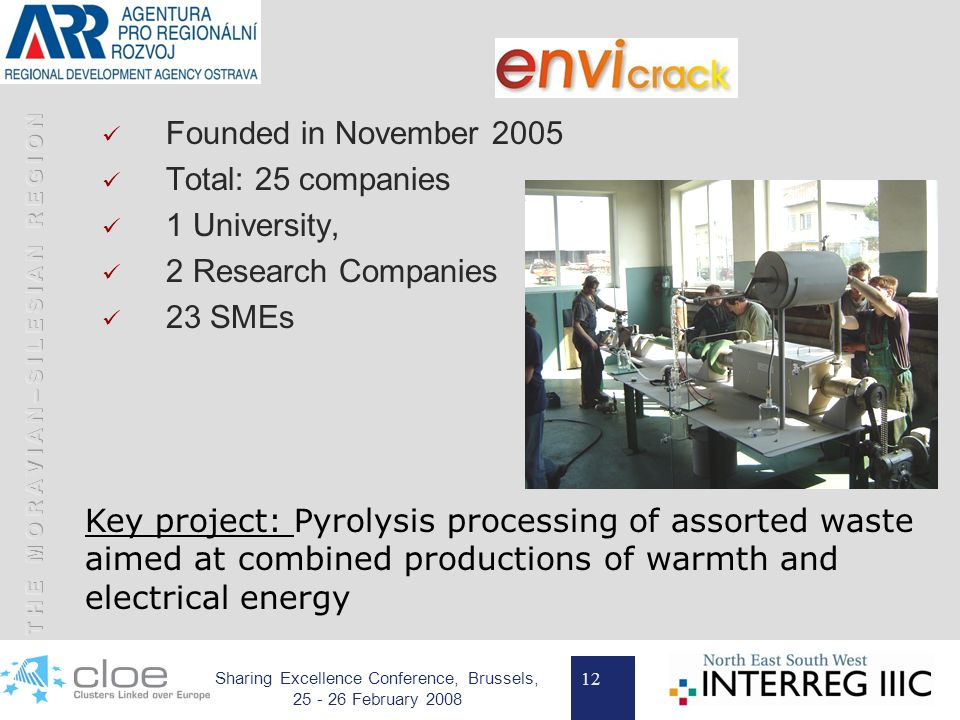 12 Sharing Excellence Conference, Brussels, 25 - 26 February 2008 Founded in November 2005 Total: 25 companies 1 University, 2 Research Companies 23 SMEs Key project: Pyrolysis processing of assorted waste aimed at combined productions of warmth and electrical energy