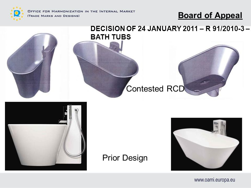 Board of Appeal Contested RCD Prior Design DECISION OF 24 JANUARY 2011 – R 91/2010-3 – BATH TUBS
