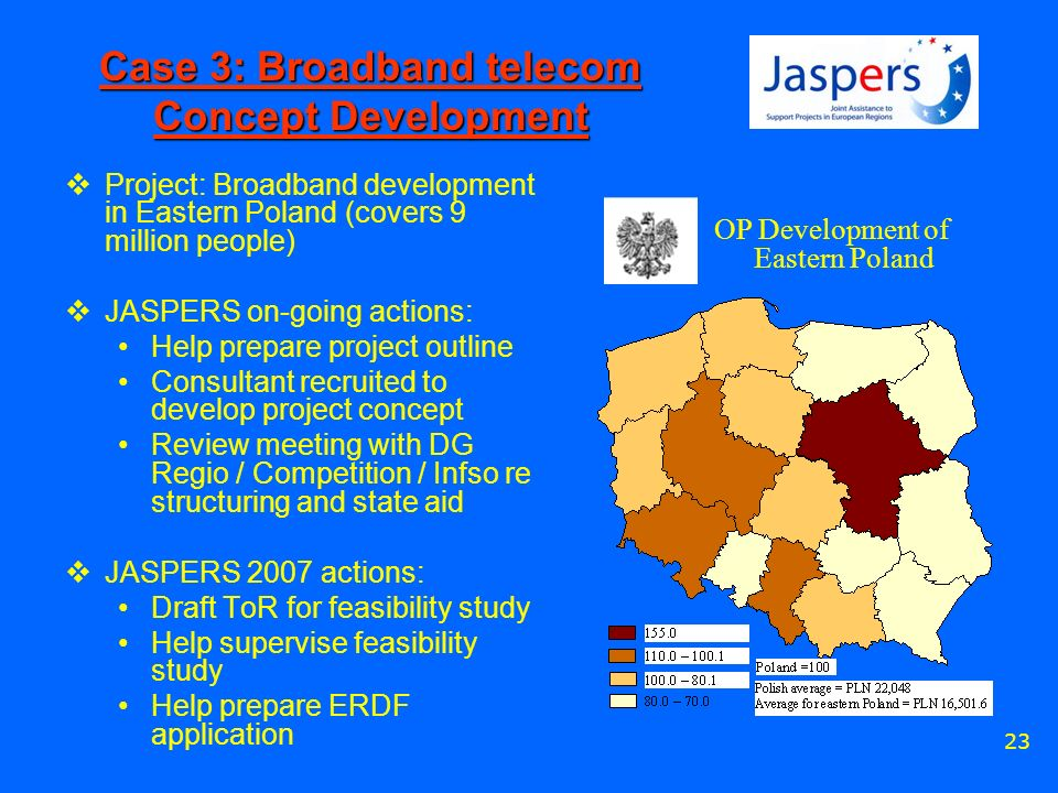 23 Case 3: Broadband telecom Concept Development Project: Broadband development in Eastern Poland (covers 9 million people) JASPERS on-going actions: Help prepare project outline Consultant recruited to develop project concept Review meeting with DG Regio / Competition / Infso re structuring and state aid JASPERS 2007 actions: Draft ToR for feasibility study Help supervise feasibility study Help prepare ERDF application OP Development of Eastern Poland