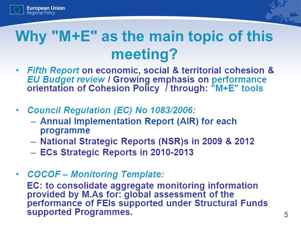 5 Why M+E as the main topic of this meeting.
