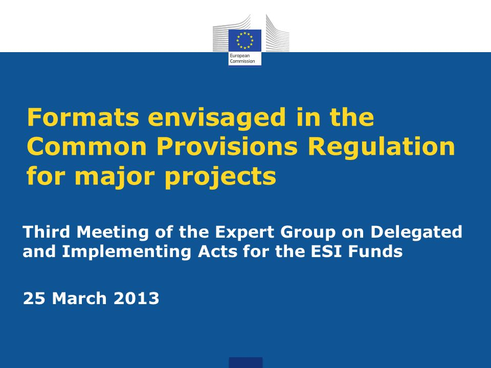 Formats envisaged in the Common Provisions Regulation for major projects Third Meeting of the Expert Group on Delegated and Implementing Acts for the ESI Funds 25 March 2013