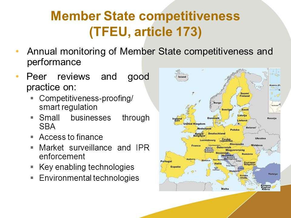 Member State competitiveness (TFEU, article 173) Peer reviews and good practice on: Competitiveness-proofing/ smart regulation Small businesses through SBA Access to finance Market surveillance and IPR enforcement Key enabling technologies Environmental technologies Annual monitoring of Member State competitiveness and performance