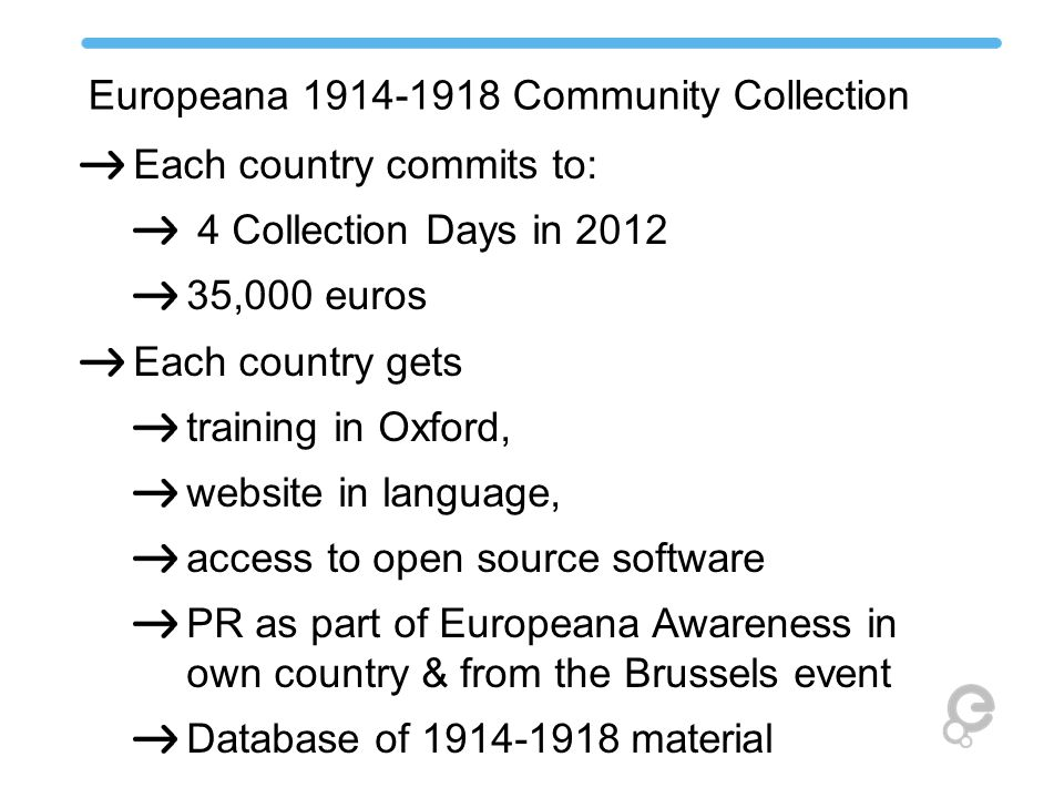 Europeana 1914-1918 Community Collection Each country commits to: 4 Collection Days in 2012 35,000 euros Each country gets training in Oxford, website in language, access to open source software PR as part of Europeana Awareness in own country & from the Brussels event Database of 1914-1918 material