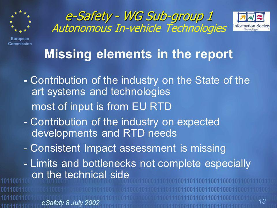 eSafety 8 July 2002 13 e-Safety - WG Sub-group 1 e-Safety - WG Sub-group 1 Autonomous In-vehicle Technologies Missing elements in the report - Contribution of the industry on the State of the art systems and technologies most of input is from EU RTD - Contribution of the industry on expected developments and RTD needs - Consistent Impact assessment is missing - Limits and bottlenecks not complete especially on the technical side