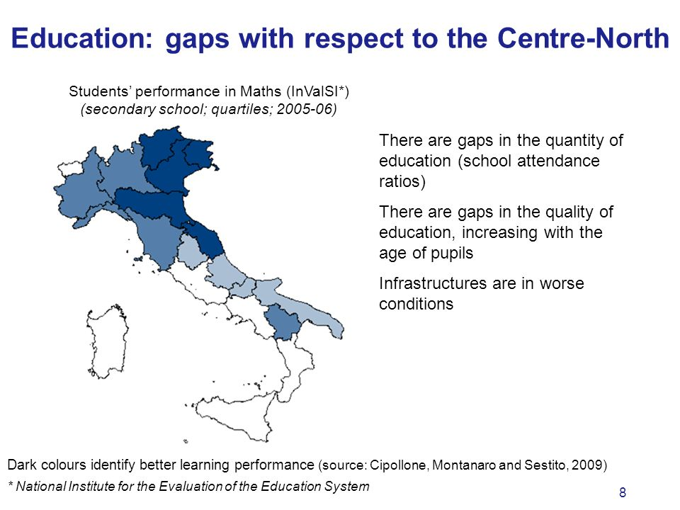 8 There are gaps in the quantity of education (school attendance ratios) There are gaps in the quality of education, increasing with the age of pupils Infrastructures are in worse conditions Education: gaps with respect to the Centre-North Dark colours identify better learning performance (source: Cipollone, Montanaro and Sestito, 2009) Students performance in Maths (InValSI*) (secondary school; quartiles; 2005-06) * National Institute for the Evaluation of the Education System