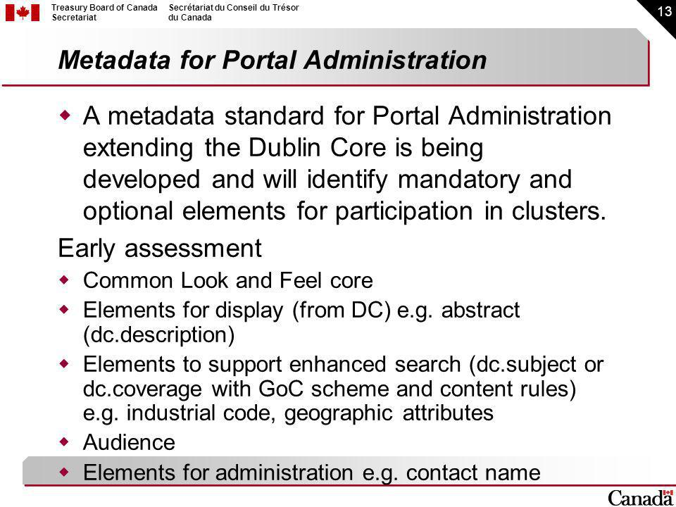 13 Treasury Board of Canada Secretariat Secrétariat du Conseil du Trésor du Canada Metadata for Portal Administration A metadata standard for Portal Administration extending the Dublin Core is being developed and will identify mandatory and optional elements for participation in clusters.