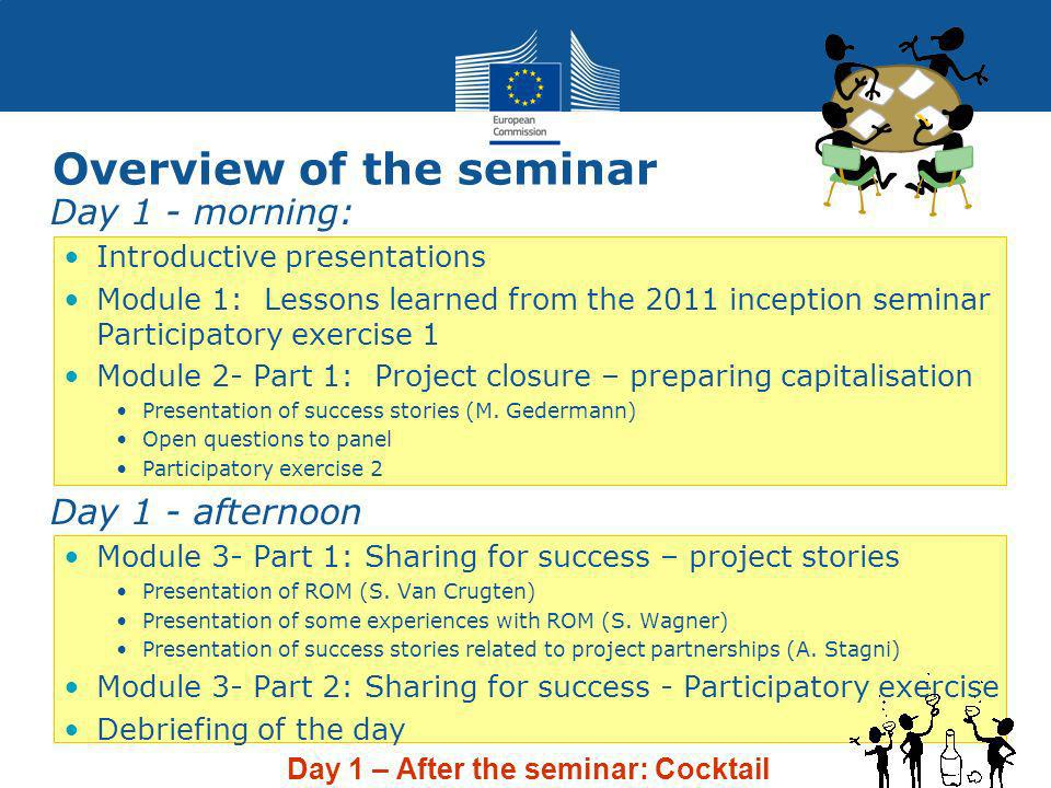 Overview of the seminar Day 1 - morning: Introductive presentations Module 1: Lessons learned from the 2011 inception seminar Participatory exercise 1 Module 2- Part 1: Project closure – preparing capitalisation Presentation of success stories (M.