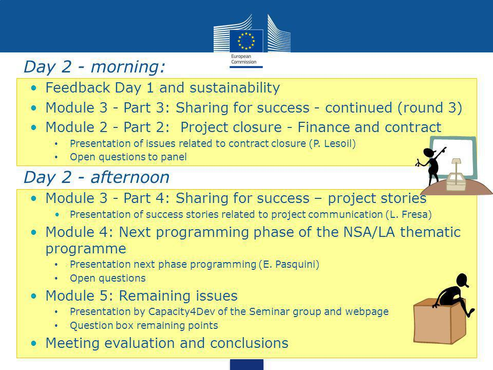 Day 2 - morning: Feedback Day 1 and sustainability Module 3 - Part 3: Sharing for success - continued (round 3) Module 2 - Part 2: Project closure - Finance and contract Presentation of issues related to contract closure (P.