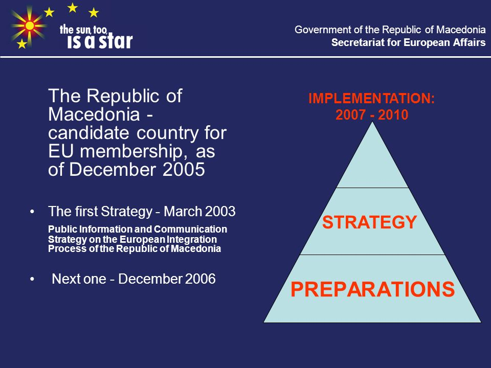 Government of the Republic of Macedonia Secretariat for European Affairs The Republic of Macedonia - candidate country for EU membership, as of December 2005 The first Strategy - March 2003 Public Information and Communication Strategy on the European Integration Process of the Republic of Macedonia Next one - December 2006 STRATEGY PREPARATIONS IMPLEMENTATION: 2007 - 2010