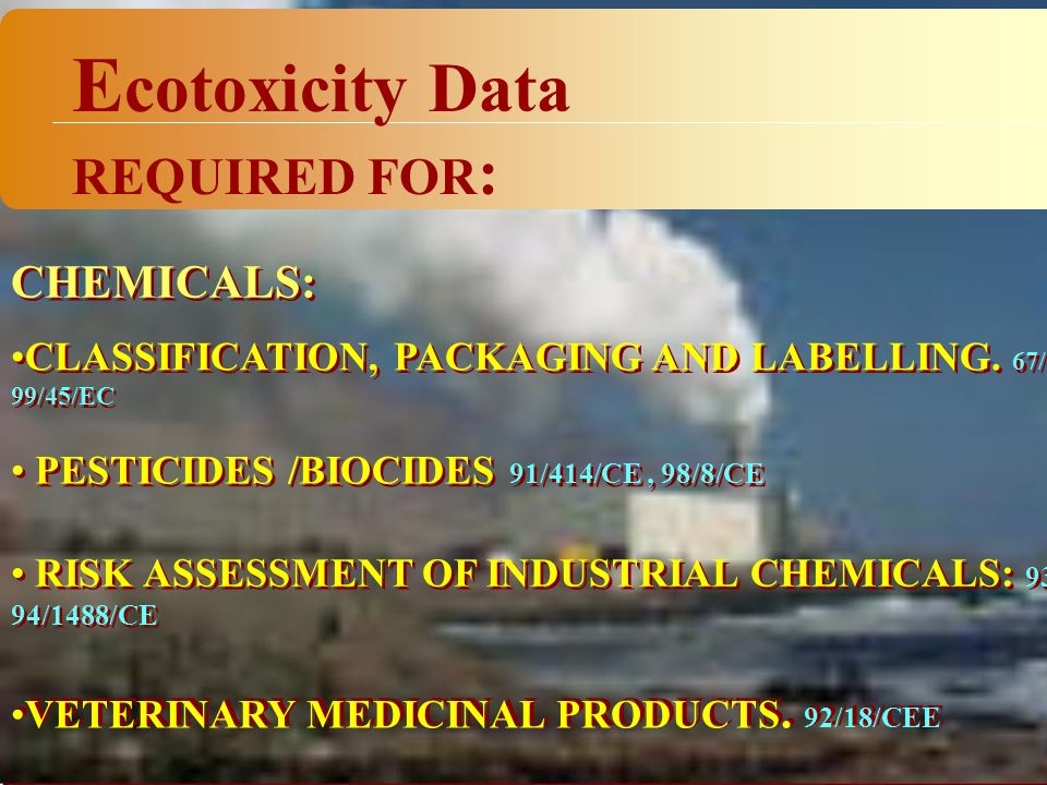 CHEMICALS: RISK ASSESSMENT OF INDUSTRIAL CHEMICALS: 93/67/CEE 94/1488/CE CLASSIFICATION, PACKAGING AND LABELLING.