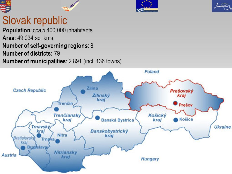 2 Slovak republic Population : cca 5 400 000 inhabitants Area: 49 034 sq.