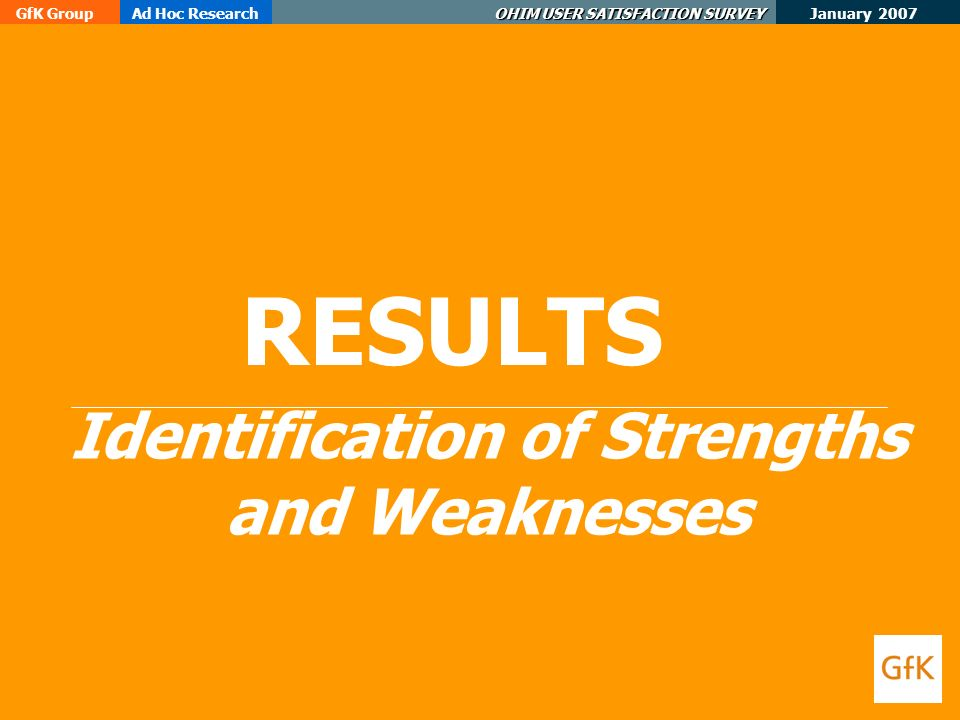 January 2007 GfK GroupAd Hoc Research OHIM USER SATISFACTION SURVEY RESULTS Identification of Strengths and Weaknesses