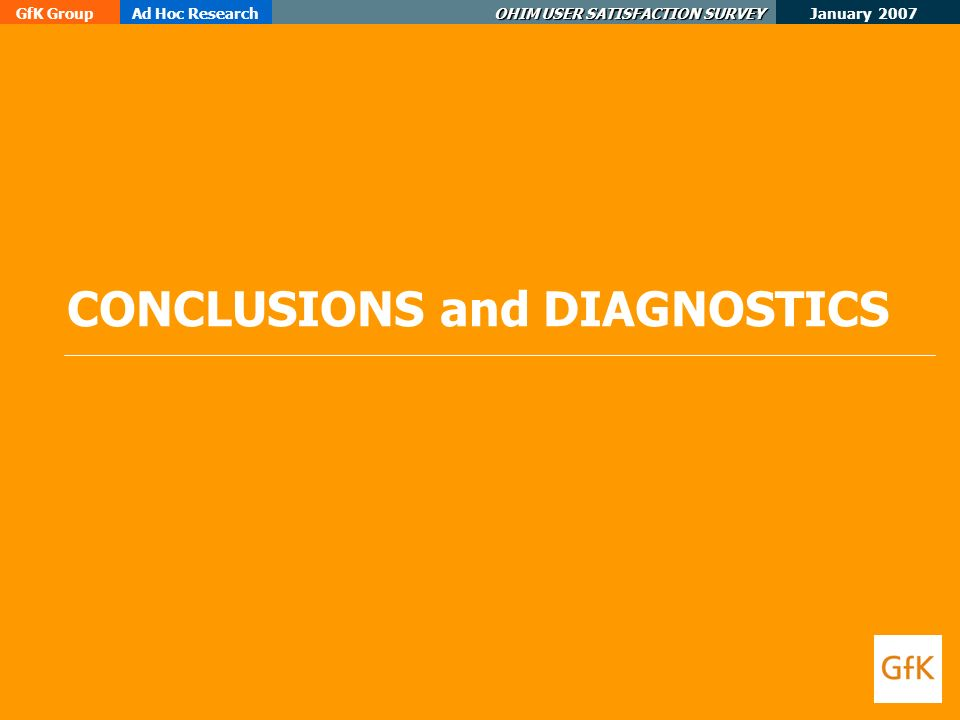 January 2007 GfK GroupAd Hoc Research OHIM USER SATISFACTION SURVEY CONCLUSIONS and DIAGNOSTICS
