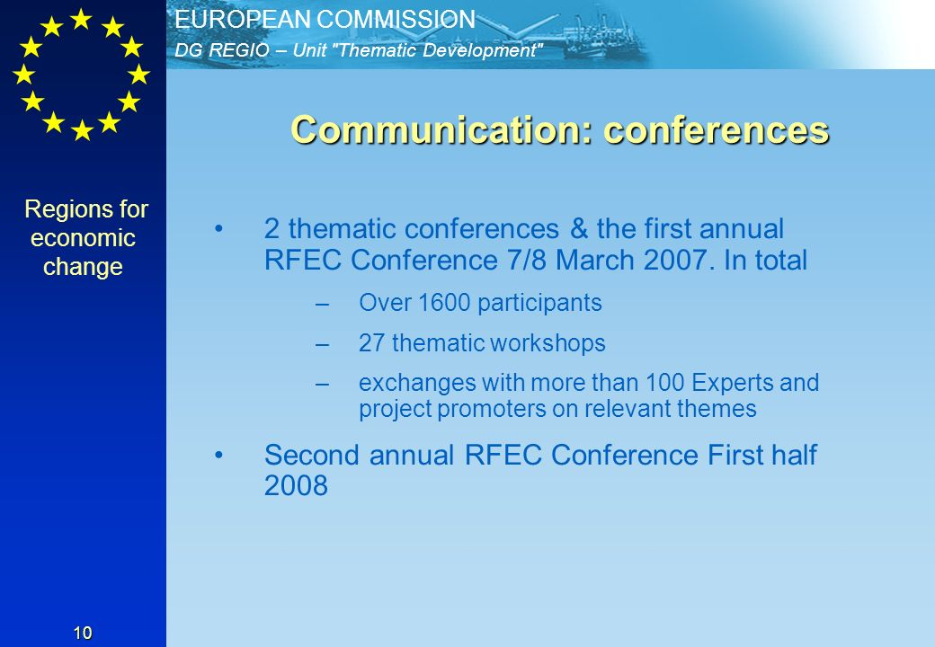 DG REGIO – Unit Thematic Development EUROPEAN COMMISSION 10 Communication: conferences Communication: conferences 2 thematic conferences & the first annual RFEC Conference 7/8 March 2007.