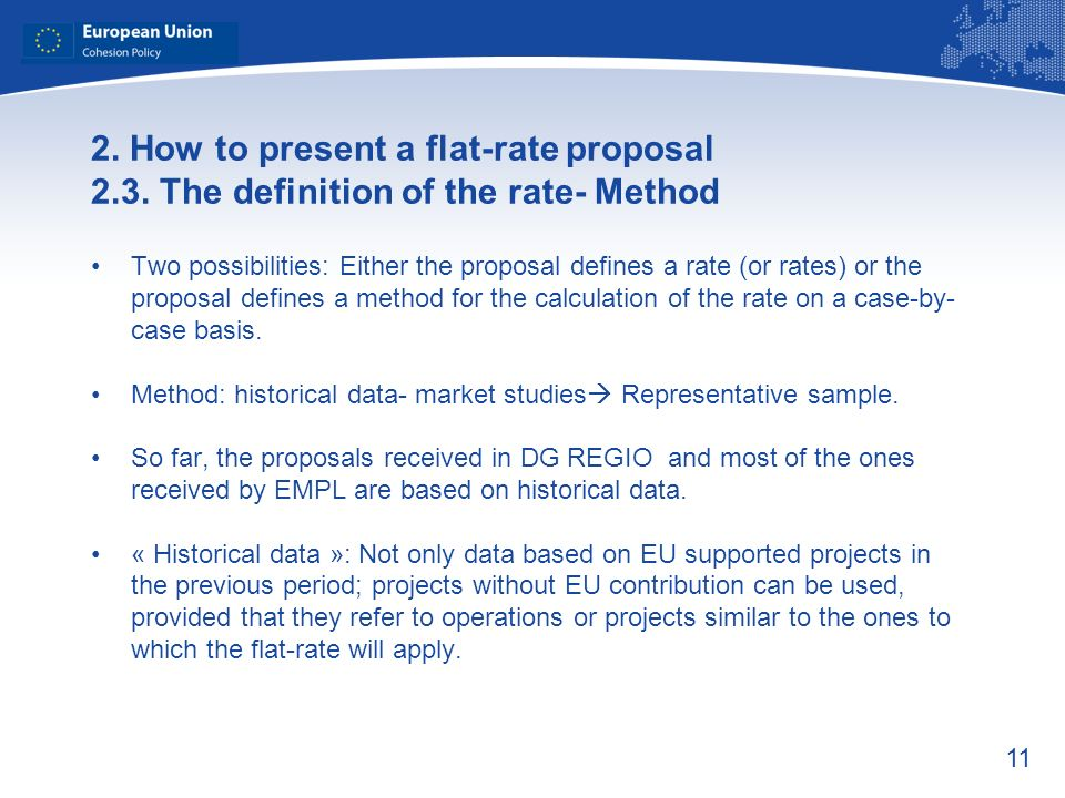 11 2. How to present a flat-rate proposal 2.3.