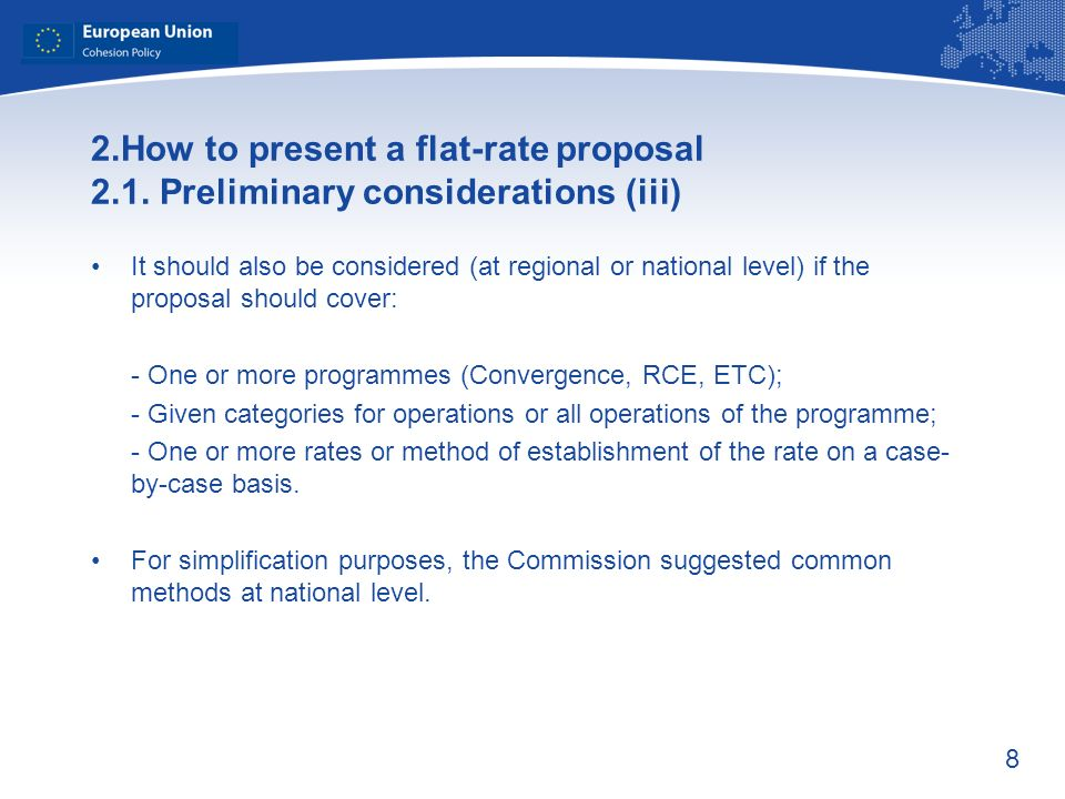 8 2.How to present a flat-rate proposal 2.1.