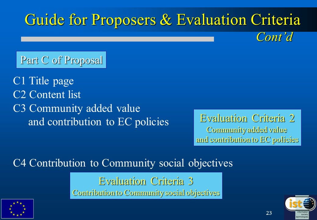 23 Guide for Proposers & Evaluation Criteria Contd Part C of Proposal C1 Title page C2 Content list C3 Community added value and contribution to EC policies C4 Contribution to Community social objectives Evaluation Criteria 2 Community added value and contribution to EC policies Evaluation Criteria 3 Contribution to Community social objectives