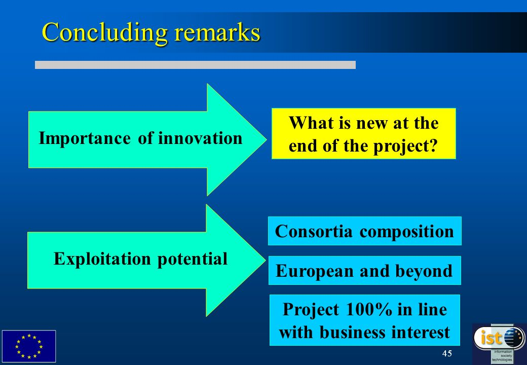 45 Concluding remarks Importance of innovation Exploitation potential Consortia composition European and beyond What is new at the end of the project.