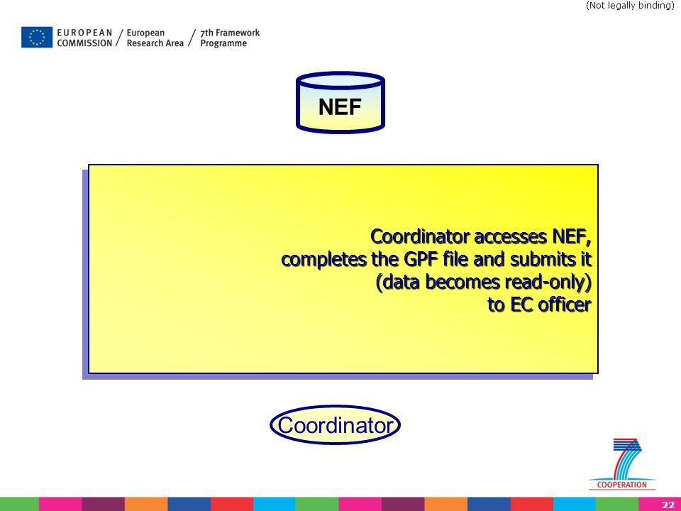 22 Coordinator accesses NEF, completes the GPF file and submits it (data becomes read-only) to EC officer Coordinator NEF (Not legally binding)