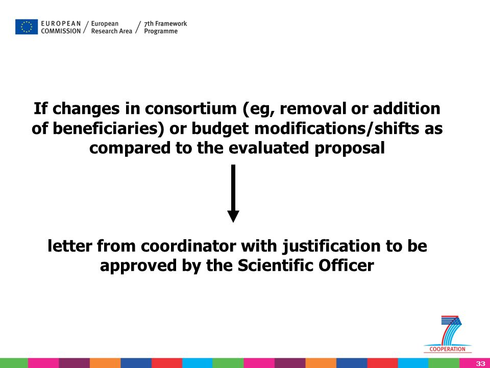 33 If changes in consortium (eg, removal or addition of beneficiaries) or budget modifications/shifts as compared to the evaluated proposal letter from coordinator with justification to be approved by the Scientific Officer