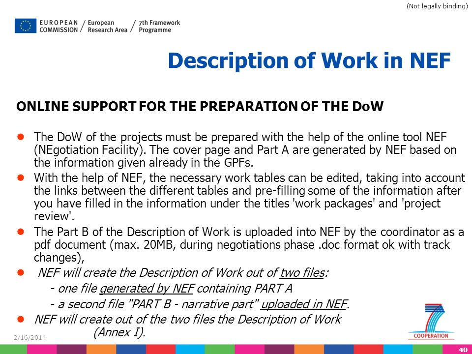 40 2/16/2014 Description of Work in NEF ONLINE SUPPORT FOR THE PREPARATION OF THE DoW The DoW of the projects must be prepared with the help of the online tool NEF (NEgotiation Facility).