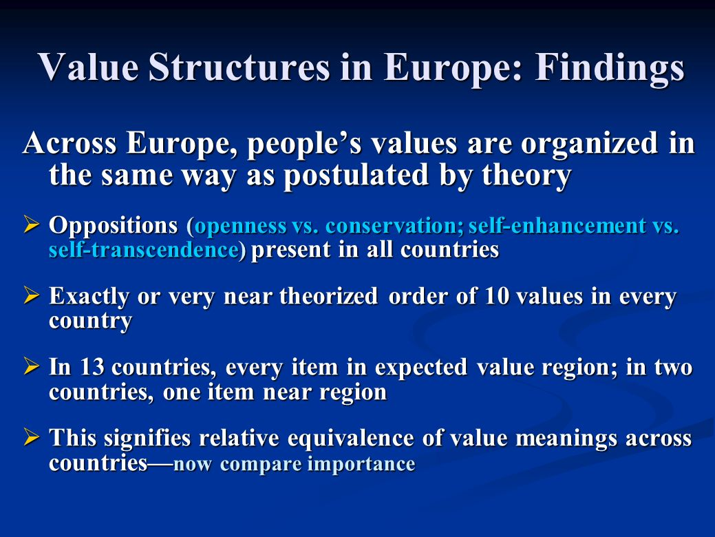 Value Structures in Europe: Findings Across Europe, peoples values are organized in the same way as postulated by theory Oppositions (openness vs.