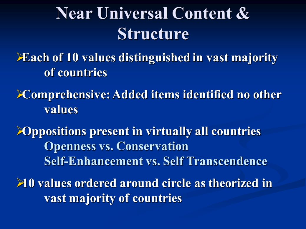 Near Universal Content & Structure Each of 10 values distinguished in vast majority of countries Each of 10 values distinguished in vast majority of countries Comprehensive: Added items identified no other values Comprehensive: Added items identified no other values Oppositions present in virtually all countries Openness vs.