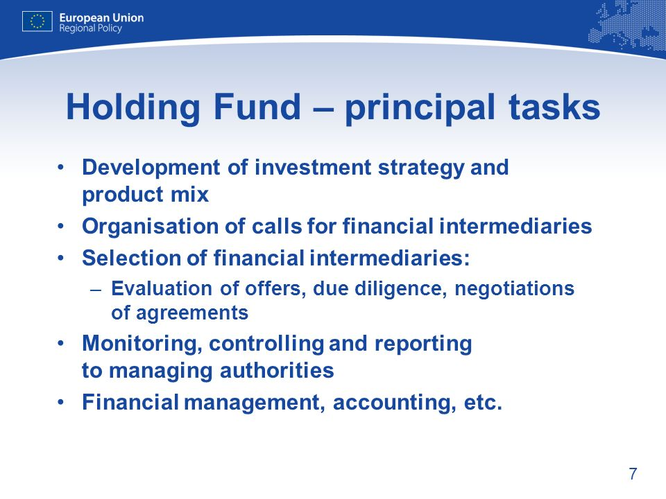 7 Holding Fund – principal tasks Development of investment strategy and product mix Organisation of calls for financial intermediaries Selection of financial intermediaries: –Evaluation of offers, due diligence, negotiations of agreements Monitoring, controlling and reporting to managing authorities Financial management, accounting, etc.