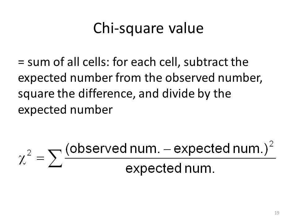 Chi-square value = sum of all cells: for each cell, subtract the expected number from the observed number, square the difference, and divide by the expected number 19