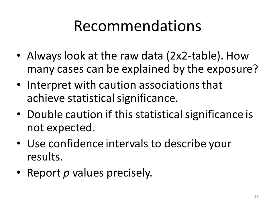 Recommendations Always look at the raw data (2x2-table).