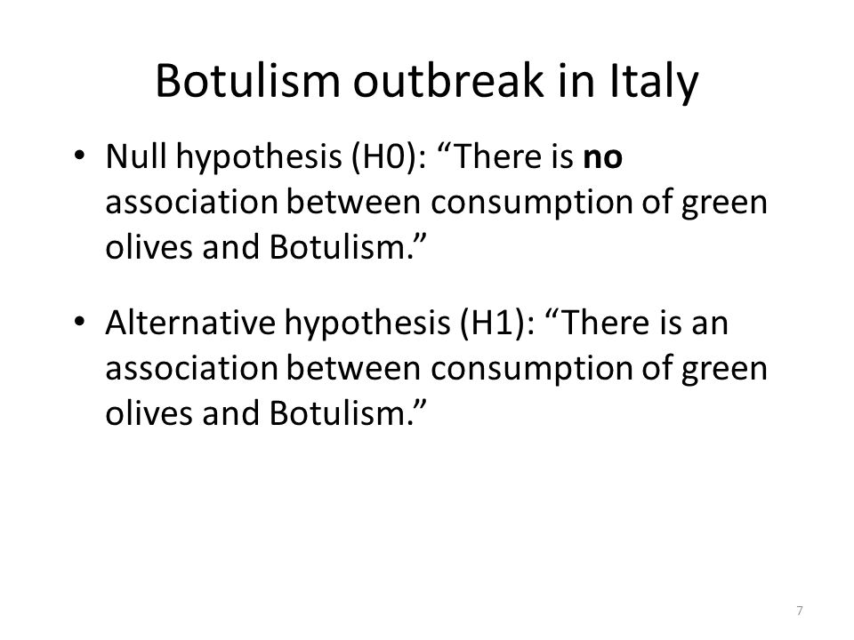 Botulism outbreak in Italy Null hypothesis (H0): There is no association between consumption of green olives and Botulism.