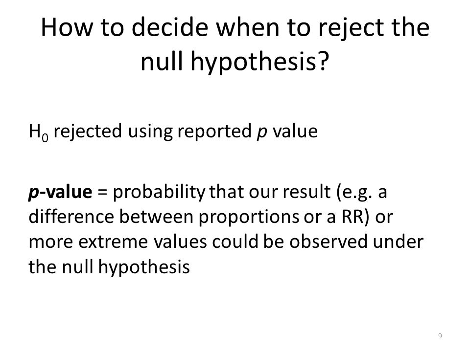 How to decide when to reject the null hypothesis.