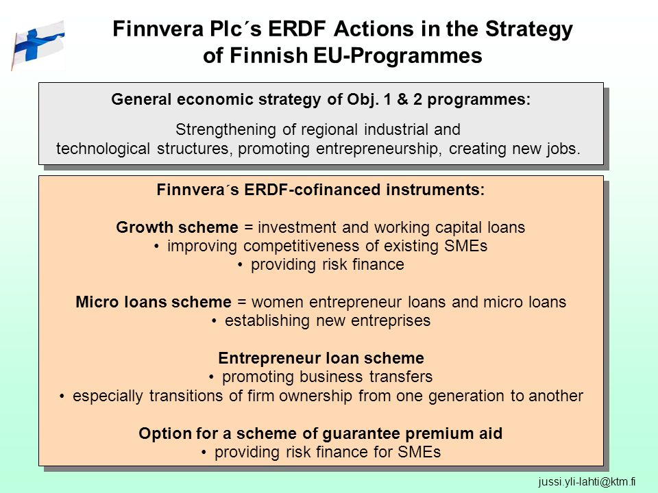 Finnvera Plc´s ERDF Actions in the Strategy of Finnish EU-Programmes General economic strategy of Obj.