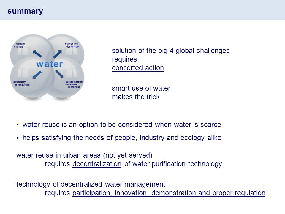 summary solution of the big 4 global challenges requires concerted action smart use of water makes the trick water reuse is an option to be considered when water is scarce helps satisfying the needs of people, industry and ecology alike water reuse in urban areas (not yet served) requires decentralization of water purification technology technology of decentralized water management requires participation, innovation, demonstration and proper regulation