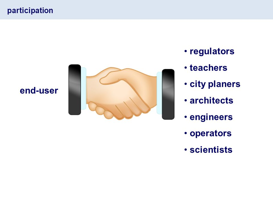 participation end-user regulators teachers city planers architects engineers operators scientists