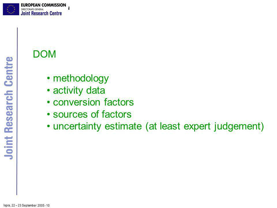 Ispra, 2 2 – 2 3 September 2005 - 10 DOM methodology activity data conversion factors sources of factors uncertainty estimate (at least expert judgement)