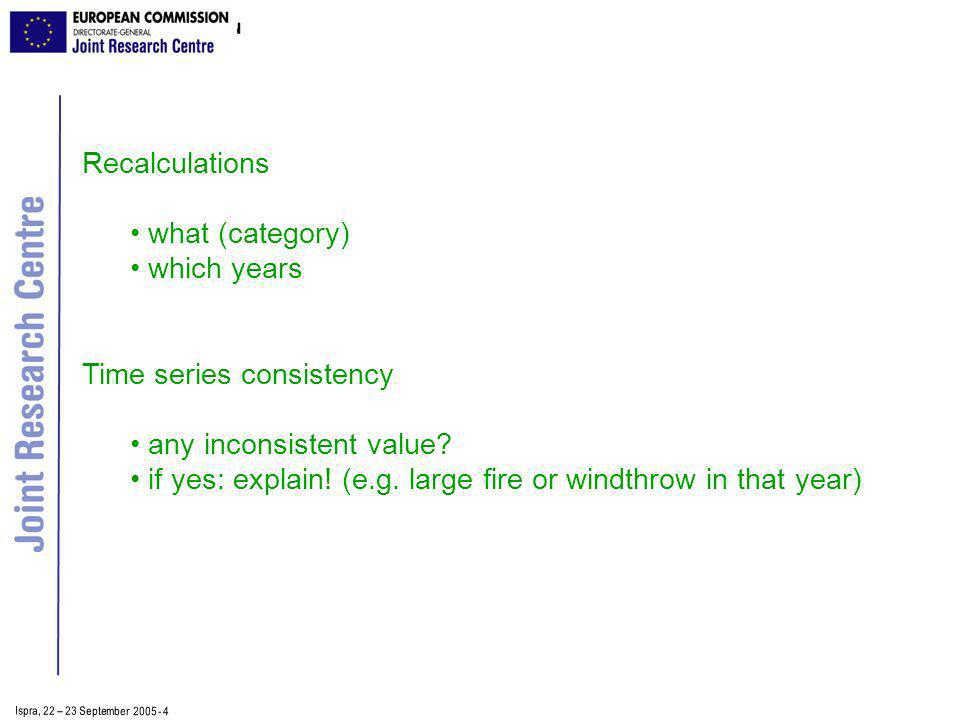 Ispra, 2 2 – 2 3 September 2005 - 4 Recalculations what (category) which years Time series consistency any inconsistent value.