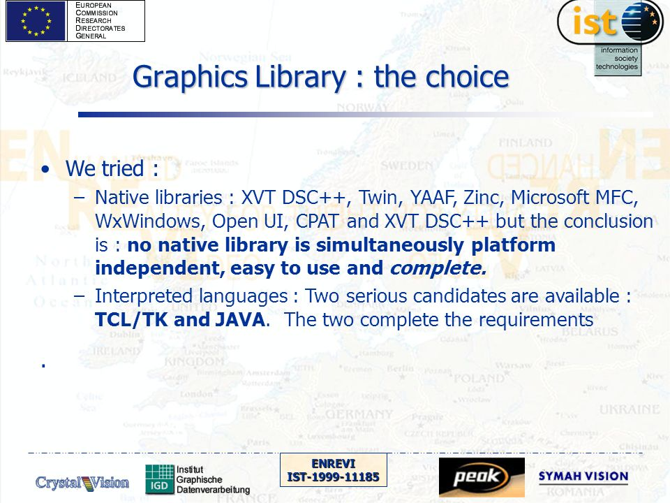 ENREVIIST-1999-11185 We tried : –Native libraries : XVT DSC++, Twin, YAAF, Zinc, Microsoft MFC, WxWindows, Open UI, CPAT and XVT DSC++ but the conclusion is : no native library is simultaneously platform independent, easy to use and complete.