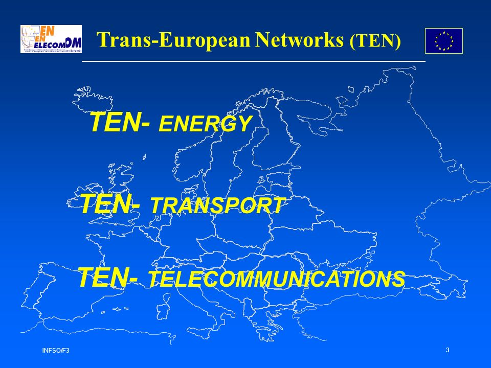 INFSO/F3 3 Trans-European Networks (TEN) TEN- ENERGY TEN- TRANSPORT TEN- TELECOMMUNICATIONS