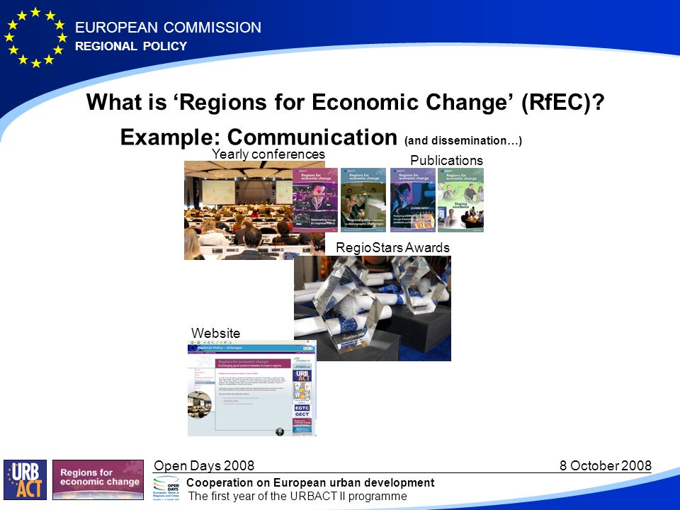 REGIONAL POLICY EUROPEAN COMMISSION Open Days October 2008 Cooperation on European urban development The first year of the URBACT II programme What is Regions for Economic Change (RfEC).