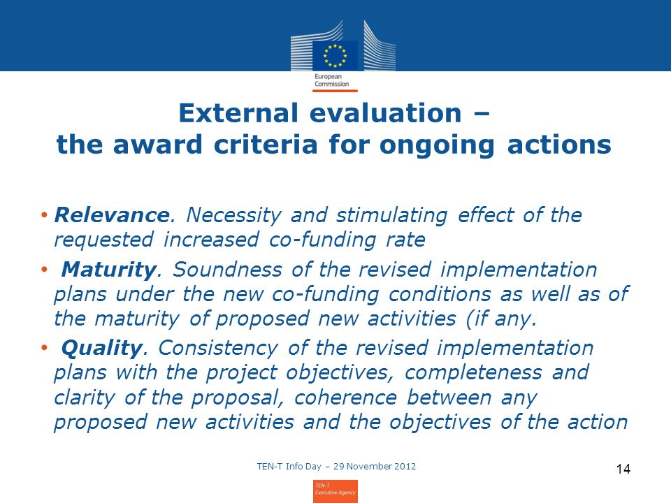 External evaluation – the award criteria for ongoing actions Relevance.
