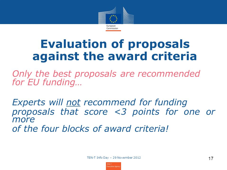 Evaluation of proposals against the award criteria Only the best proposals are recommended for EU funding… Experts will not recommend for funding proposals that score <3 points for one or more of the four blocks of award criteria.