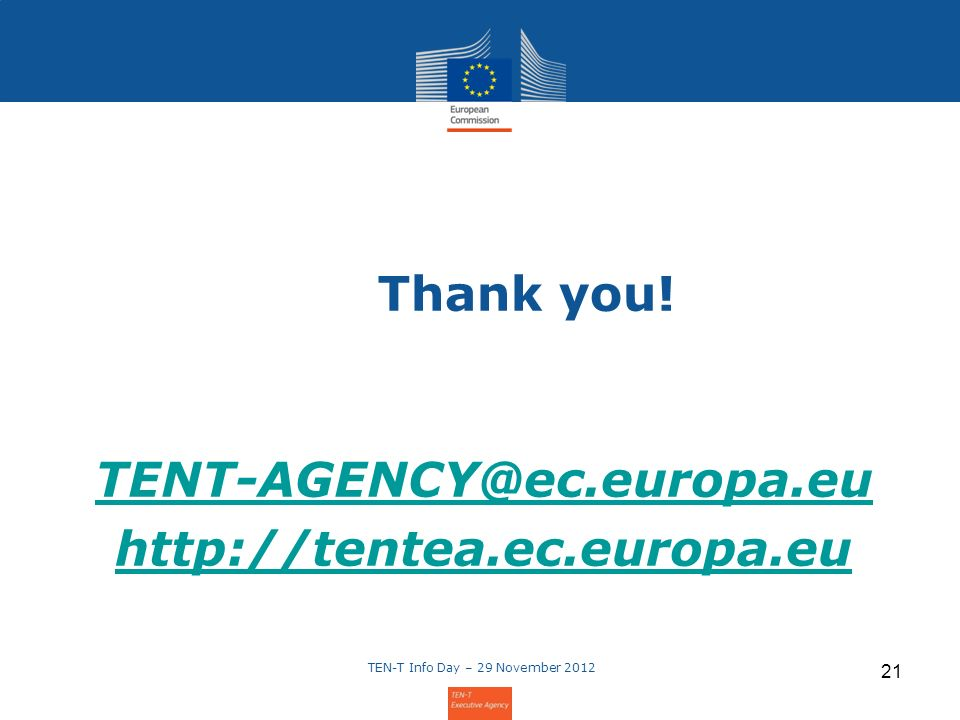 Thank you!   TEN-T Info Day – 29 November