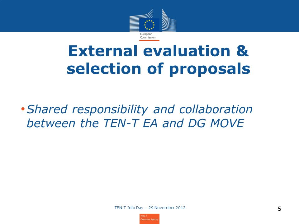 External evaluation & selection of proposals Shared responsibility and collaboration between the TEN-T EA and DG MOVE TEN-T Info Day – 29 November