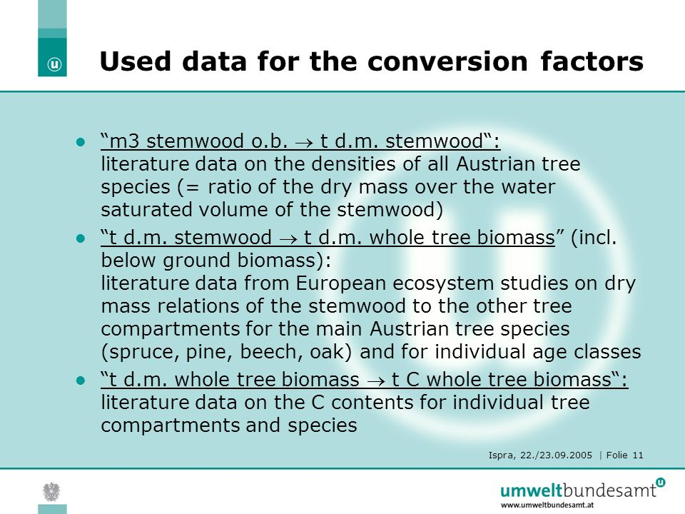 Ispra, 22./23.09.2005 | Folie 11 Used data for the conversion factors m3 stemwood o.b.