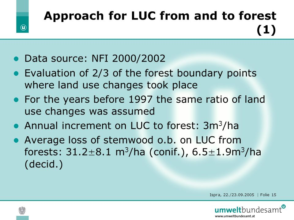 Ispra, 22./23.09.2005 | Folie 15 Approach for LUC from and to forest (1) Data source: NFI 2000/2002 Evaluation of 2/3 of the forest boundary points where land use changes took place For the years before 1997 the same ratio of land use changes was assumed Annual increment on LUC to forest: 3m 3 /ha Average loss of stemwood o.b.