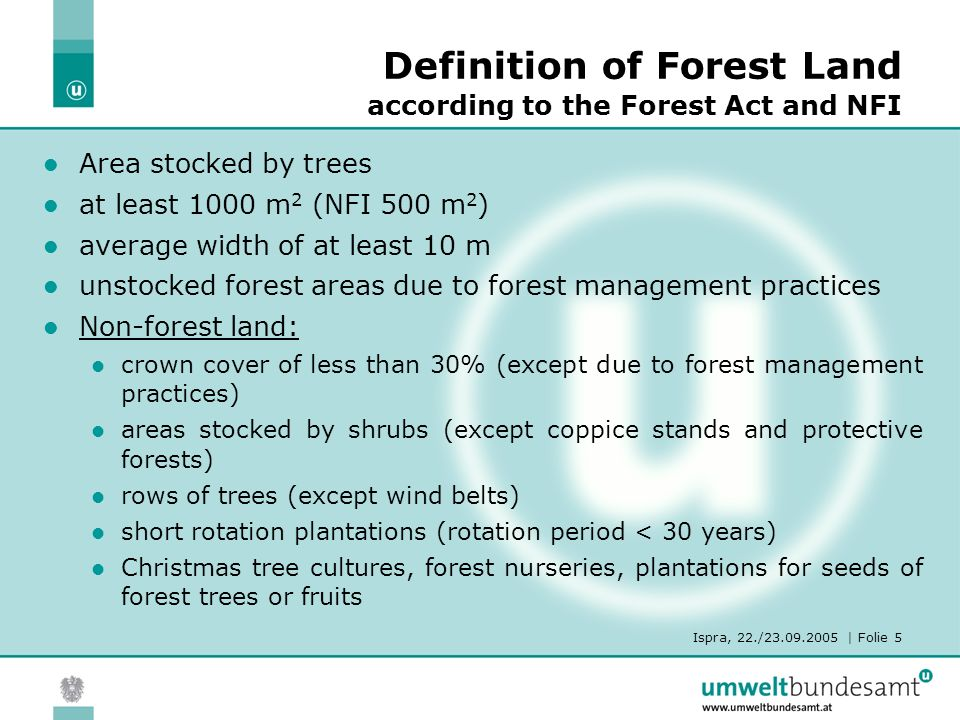 Ispra, 22./23.09.2005 | Folie 5 Definition of Forest Land according to the Forest Act and NFI Area stocked by trees at least 1000 m 2 (NFI 500 m 2 ) average width of at least 10 m unstocked forest areas due to forest management practices Non-forest land: crown cover of less than 30% (except due to forest management practices) areas stocked by shrubs (except coppice stands and protective forests) rows of trees (except wind belts) short rotation plantations (rotation period < 30 years) Christmas tree cultures, forest nurseries, plantations for seeds of forest trees or fruits