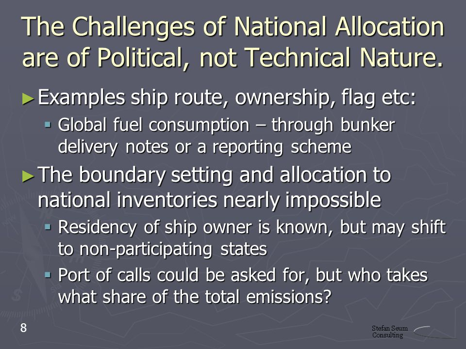 The Challenges of National Allocation are of Political, not Technical Nature.